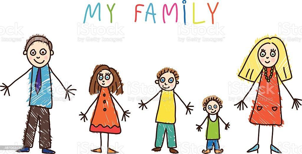 Enfants dessin. La famille - Illustration vectorielle