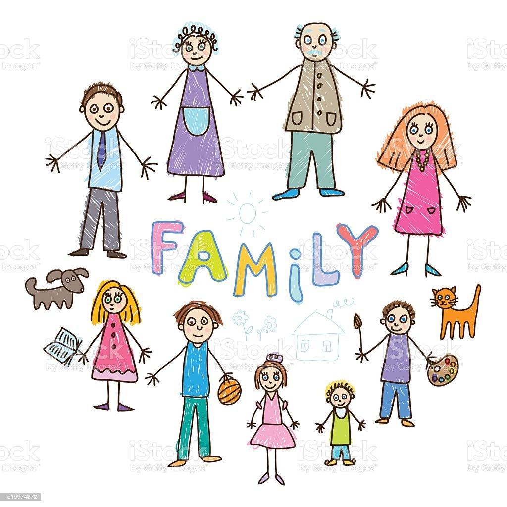 Моя семья картинки рисунки