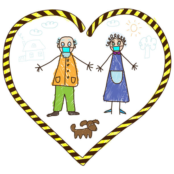 ilustrações de stock, clip art, desenhos animados e ícones de kids drawing. grandparents in self-isolation during coronavirus pandemic - tape face
