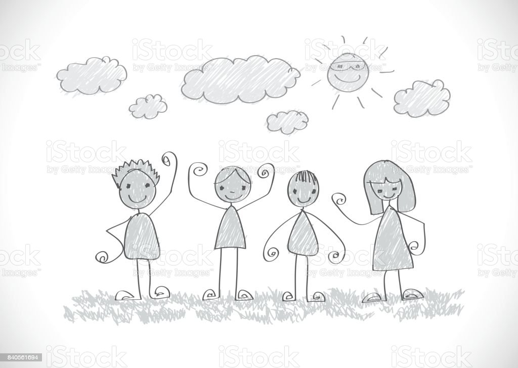 Kids Drawing Happy Family Picture Stock Illustration ...