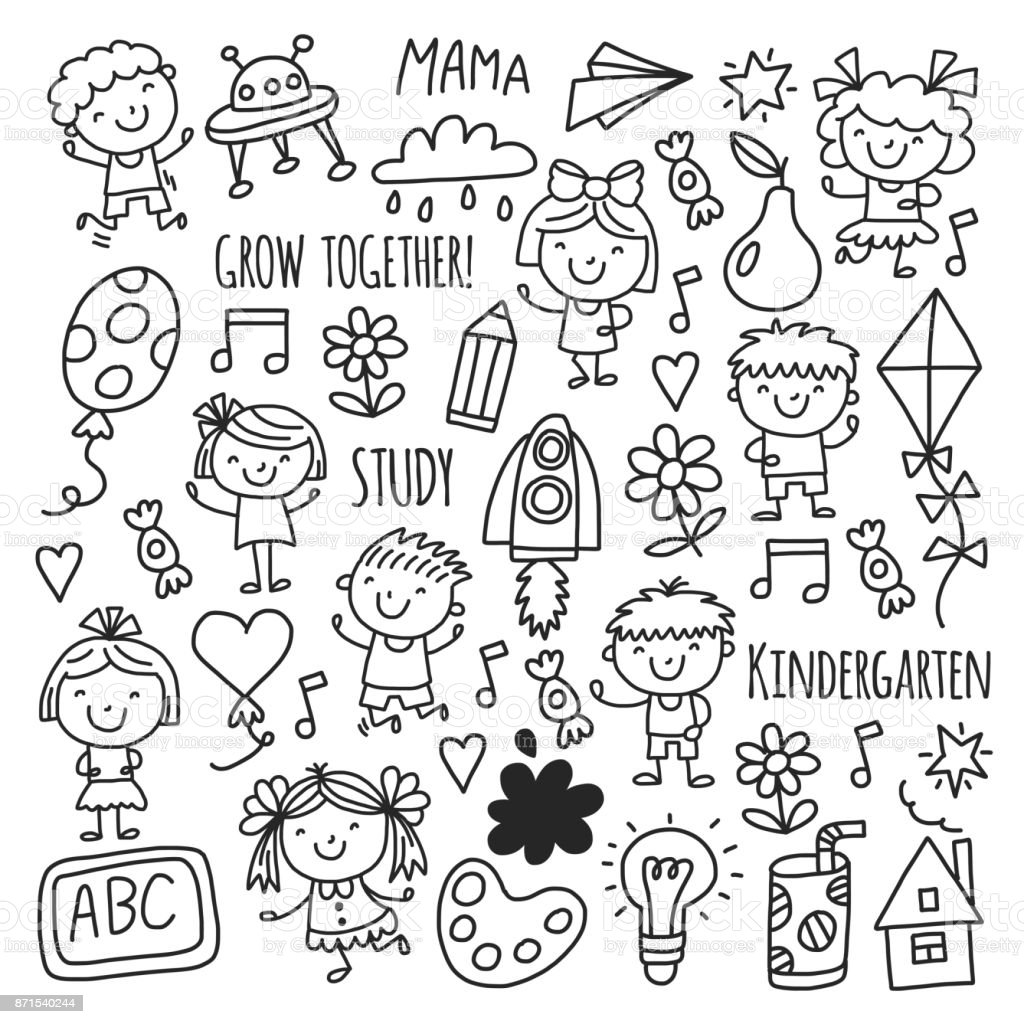 Vetores De Desenho De Criancas Do Jardim De Infancia Escola Feliz