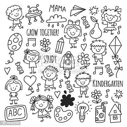Ilustración de Niños Dibujando A Niños Kinder Escuela Feliz Juegan ...