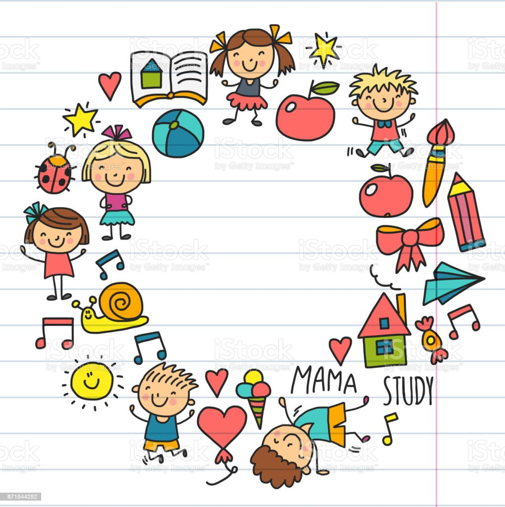 Kids Drawing Kindergarten School Happy Children Play Illustration