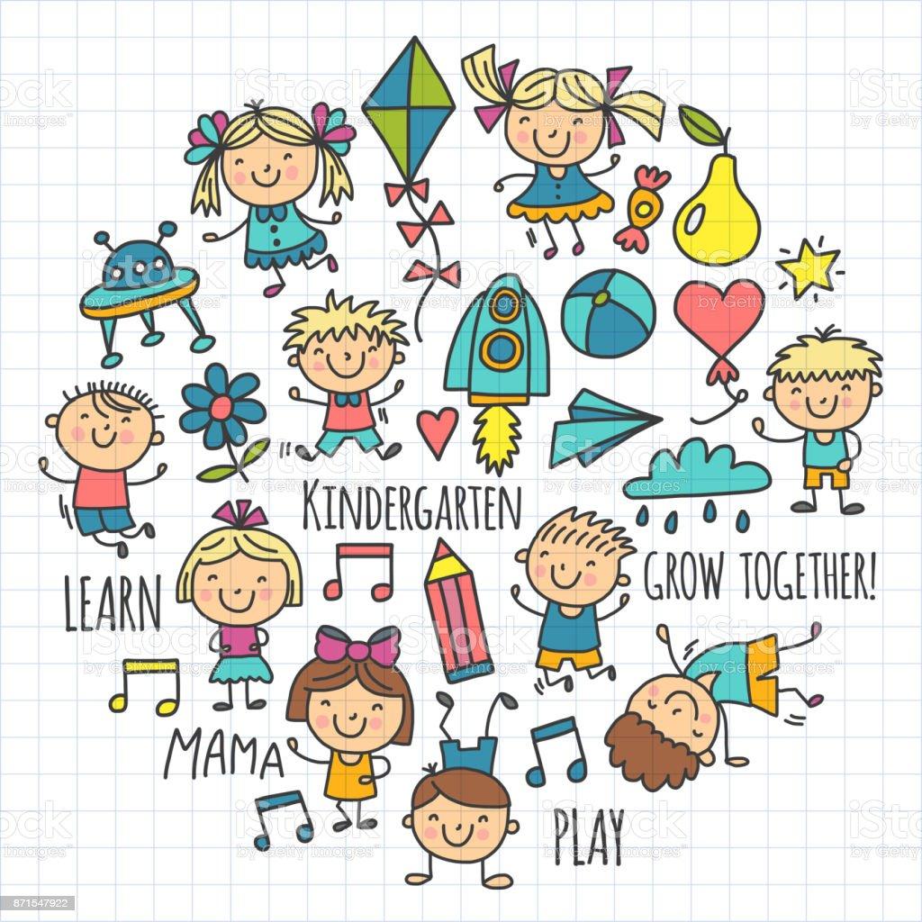 Enfants Dessin Enfants Maternelle école Heureux Jouer
