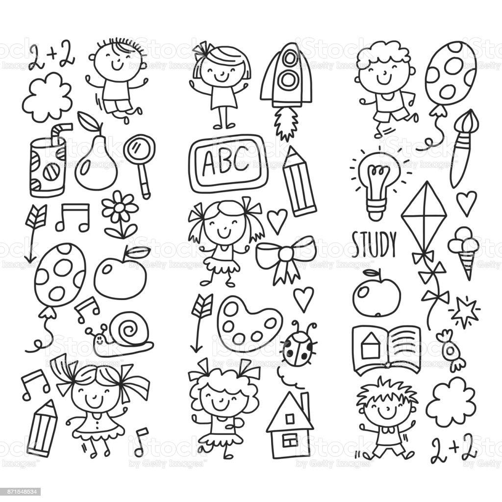 kids drawing kindergarten school happy children play illustration for kids nursery preschool children icon royalty - Drawing Pictures For Kindergarten