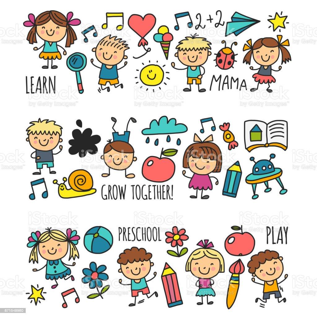 Kids drawing Kindergarten School Happy children play Illustration for kids Nursery Preschool Children icon vector art illustration