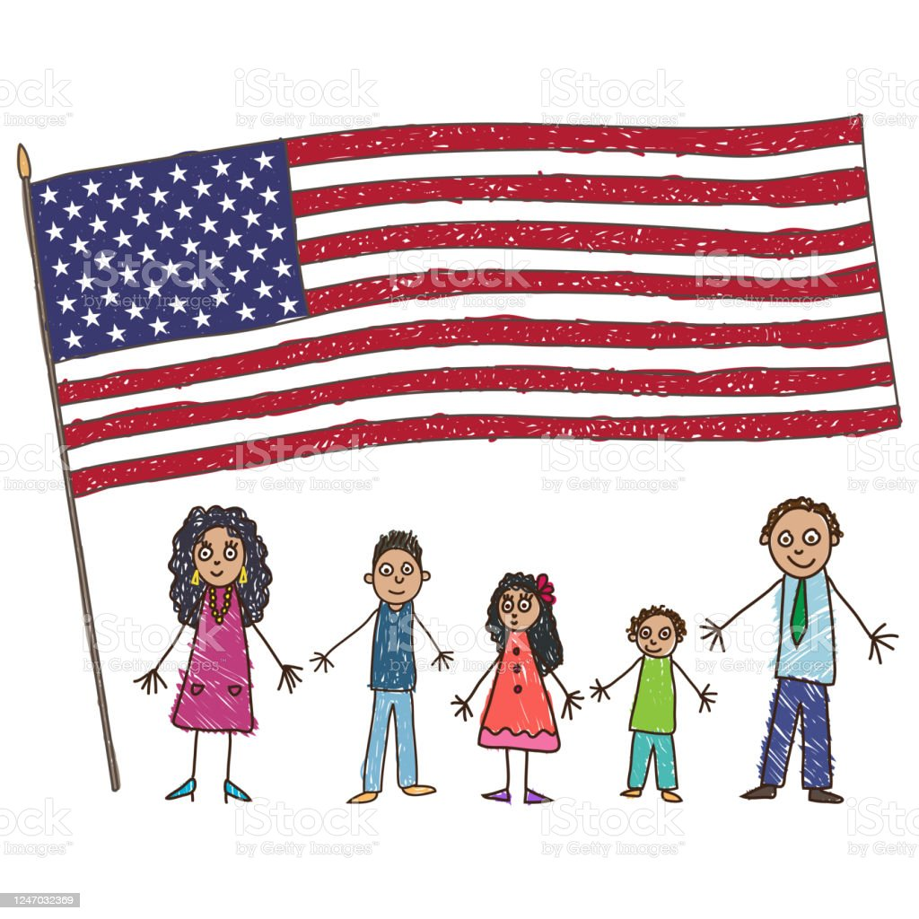 Kids Drawing. Latino American family with Flag of the USA. Vector illustration - Векторная графика Близость роялти-фри