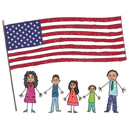 Kids Drawing Latino American Family With Flag Of The Usa Vector Illustration — стоковая векторная графика и другие изображения на тему Близость