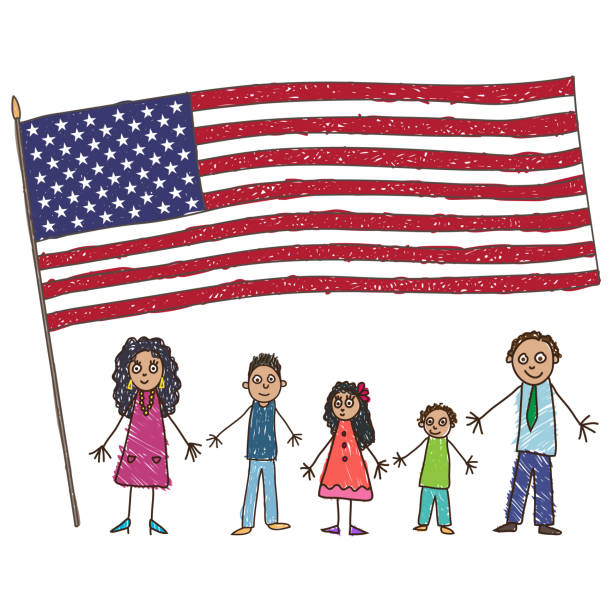 kids drawing. latino american family with flag of the usa. vector illustration - family 4th of july stock illustrations