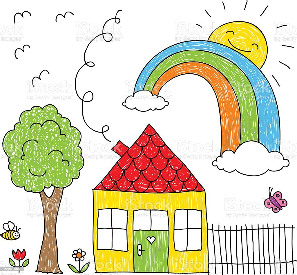 Kids Drawing Of A House Rainbow And Tree Stock Vector Art More
