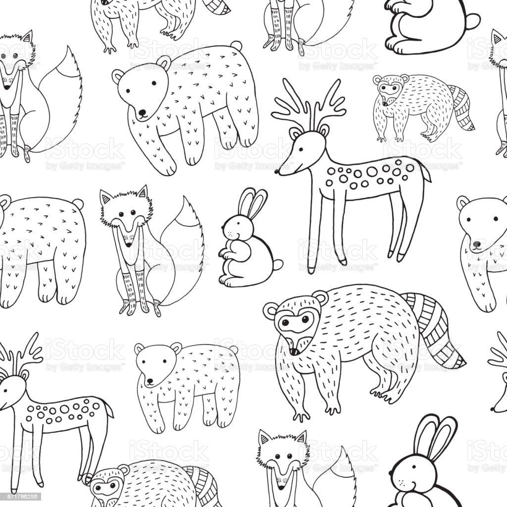 Ilustración de Dibujo De Animales De Patrones Sin Fisuras A Los ...