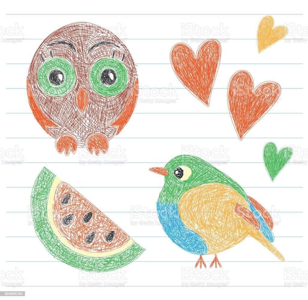 Dessin De Lenfant Hibou Oiseau Pasteque Et Coeur Crayon De La