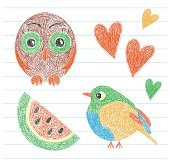 Kid's drawing. Owl, bird, watermelon and heart. Color pencil. Hand drawn funny doodle sketch. Vector scribble of the little child