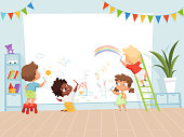 Kids drawing painting. School education process for childrens background of creativity childhood vector picture. Child paint crayon on wall illustration