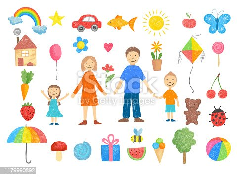 Kids drawings. How to draw little childrens pencil colored crayon hand drawn toys smiling peoples funny pictures vector illustrations. Drawn family mother father with children smile, drawing toys