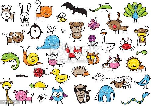 Kids Drawings Of Animals stock vector art 470471052 | iStock
