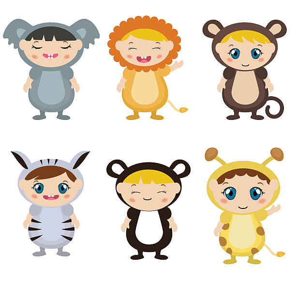 kids dressed as animal cute costume - giraffenkostüm stock-grafiken, -clipart, -cartoons und -symbole