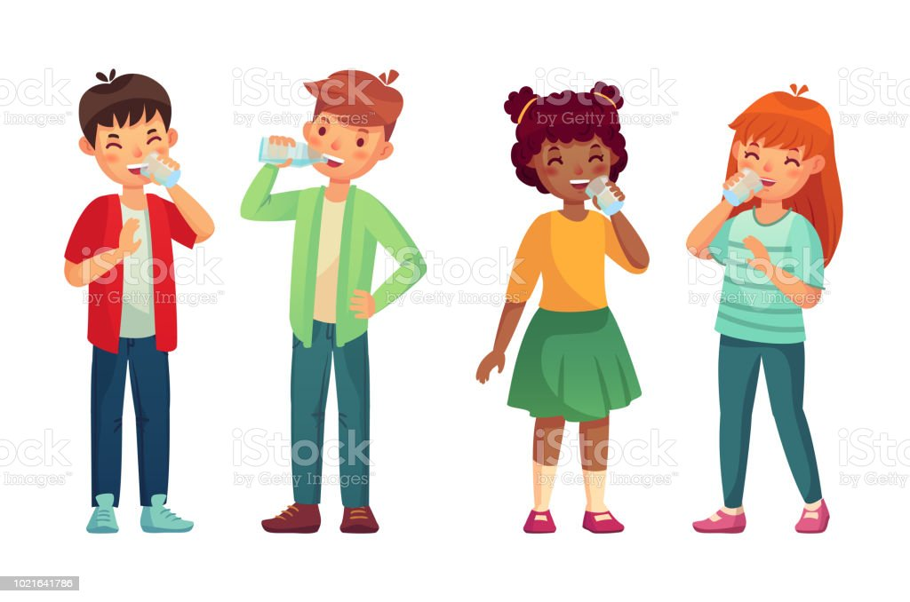 Kids drink glass of water. Happy boy and girl drinks. Children drinking hydration level care vector cartoon illustration vector art illustration