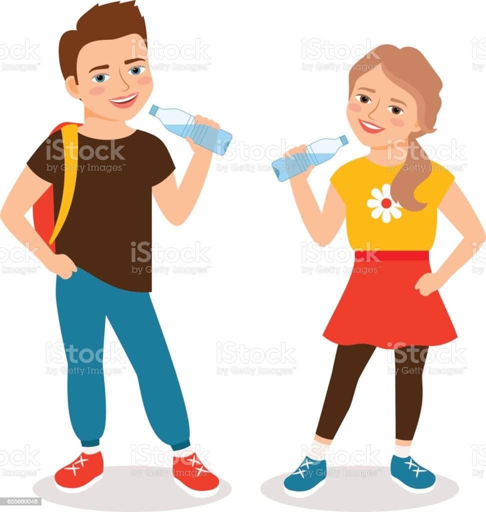 Kids drinking water vector art illustration