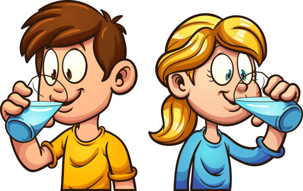 Royalty Free Kids Drink Water Clip Art, Vector Images