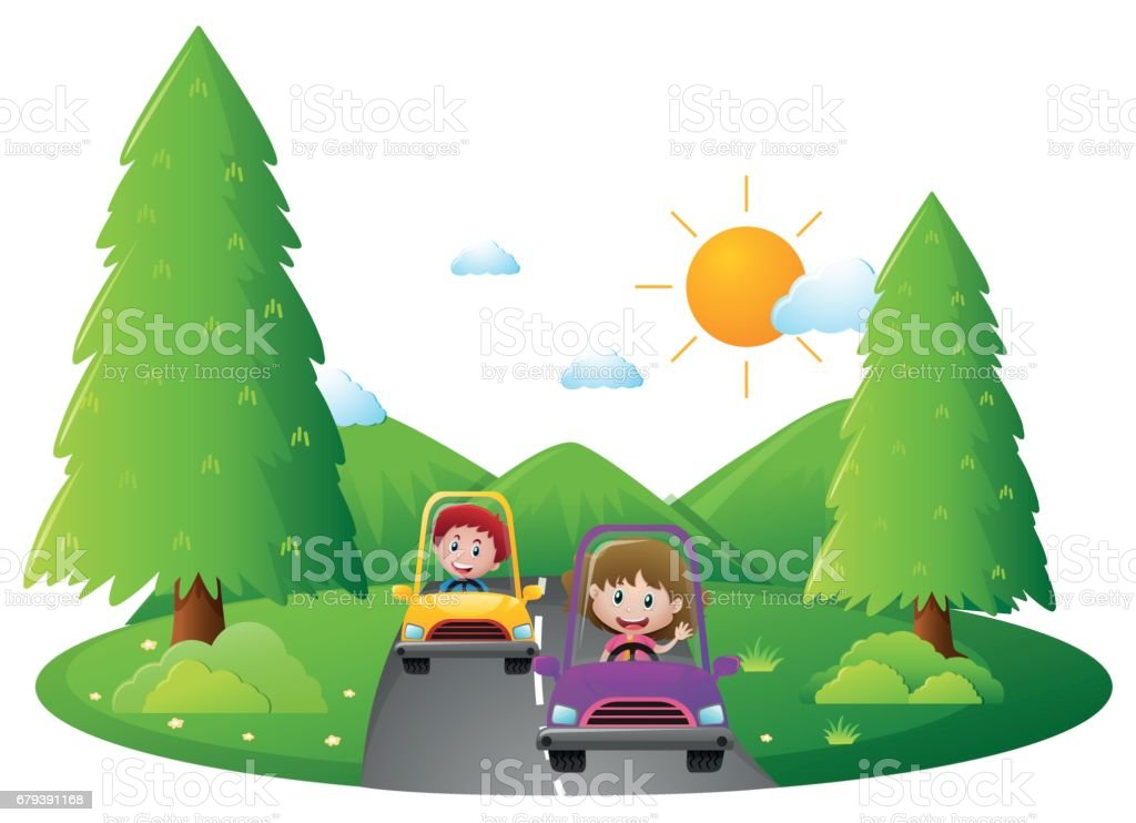 Kids driving on the road royalty-free kids driving on the road stock vector art & more images of activity