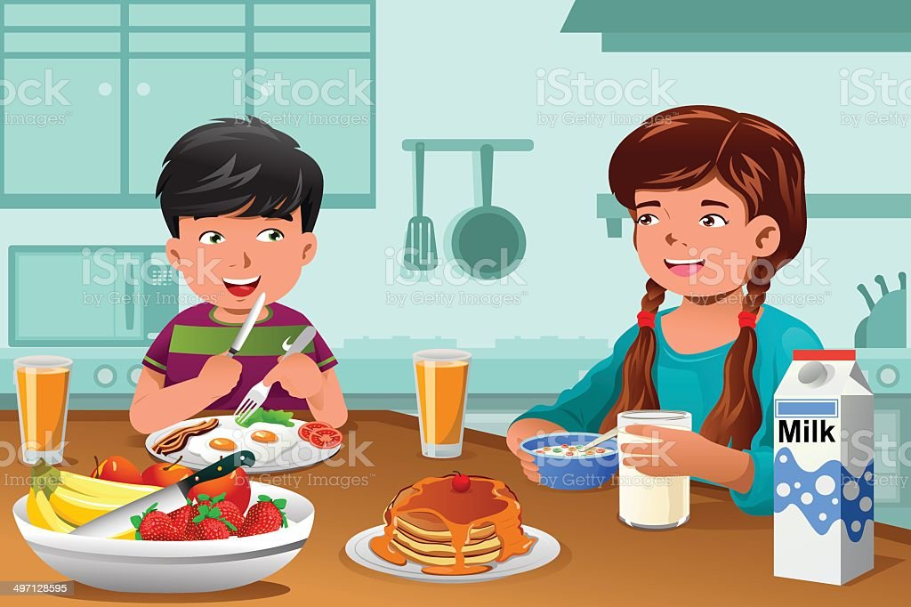 Kids eating healthy breakfast vector art illustration