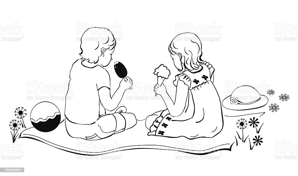Niños de comer helado ilustración de niños de comer helado y más banco de imágenes de amistad libre de derechos