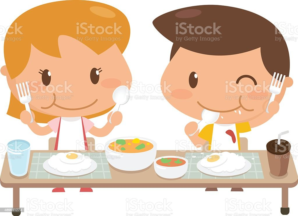 Kids eating vector art illustration