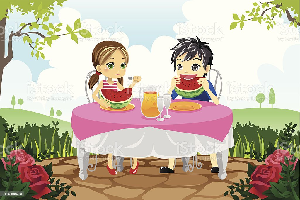 Kids eating watermelon in a park royalty-free stock vector art