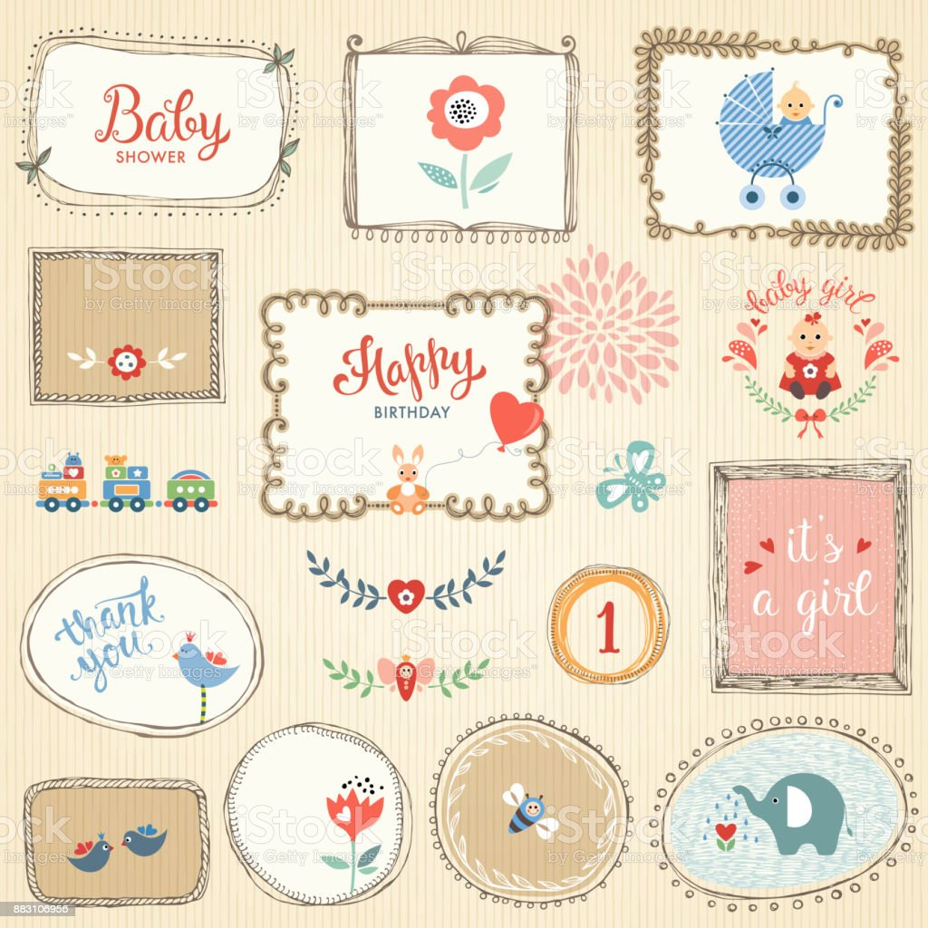 Kids Elements and Hand Drawn Frames vector art illustration