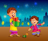 kids enjoying firecracker celebrating Diwali in vector