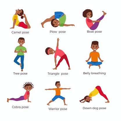 kids exercise poses and yoga asana set stock illustration