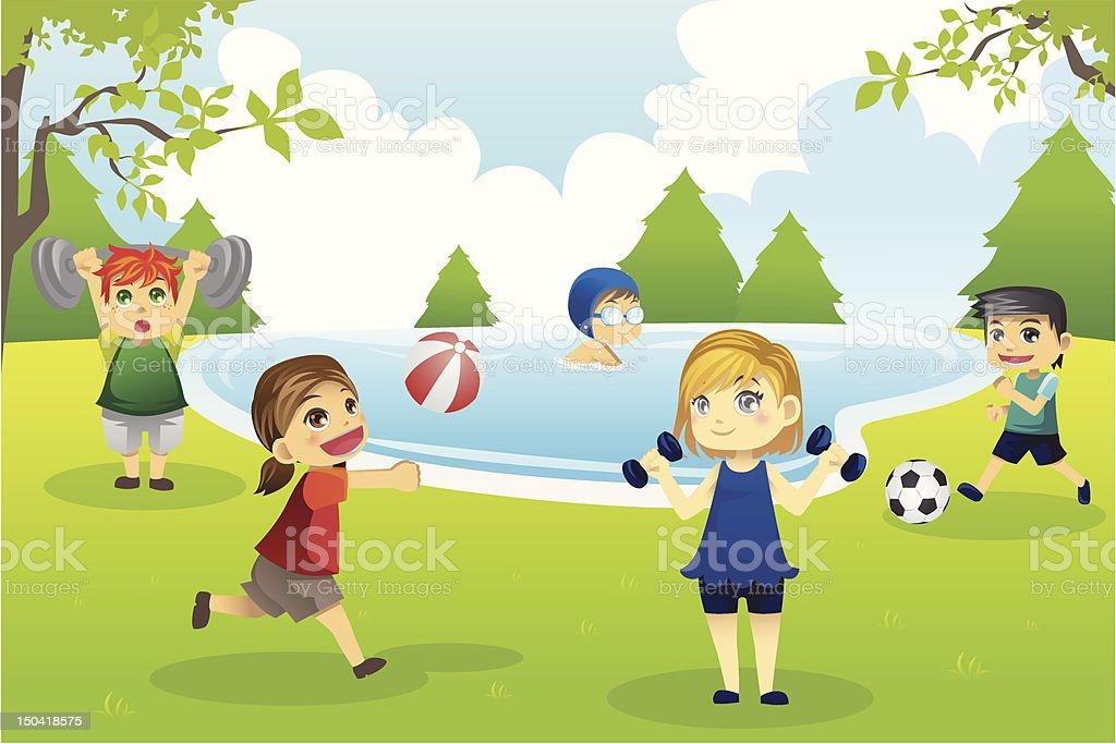 Kids exercising in park royalty-free stock vector art