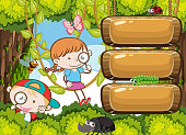 Kids Exploring Rain Forest Banner illustration