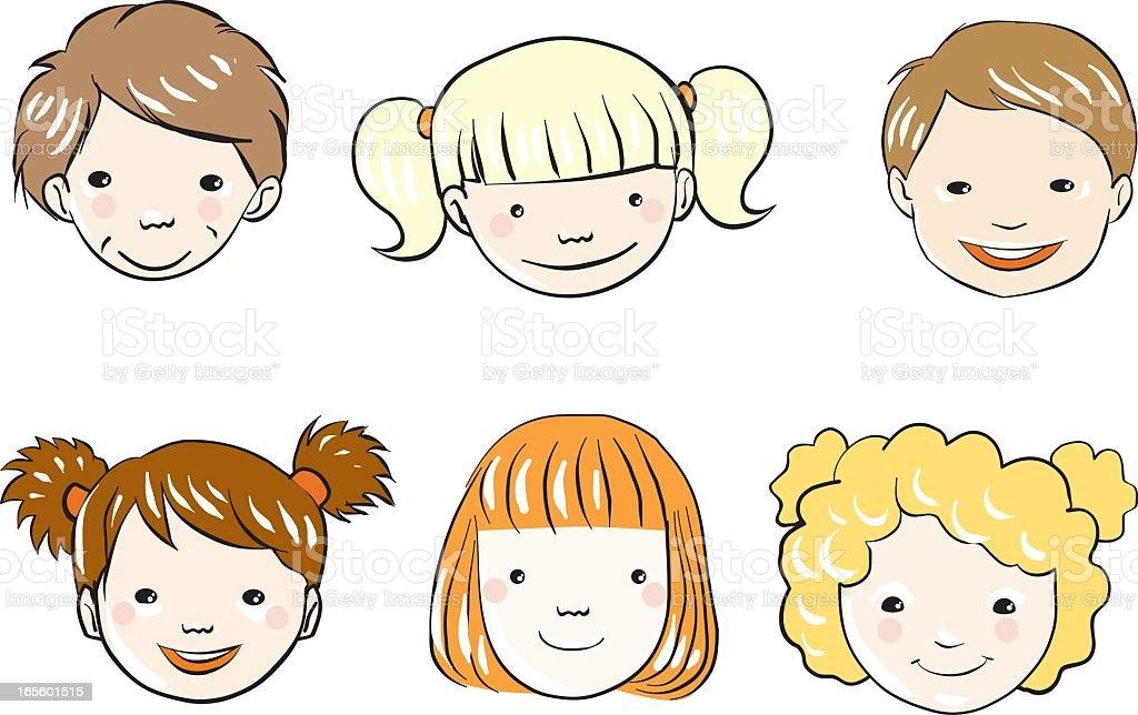 Rostros De Niños Animados: Ilustración De Caras De Los Niños Y Más Banco De