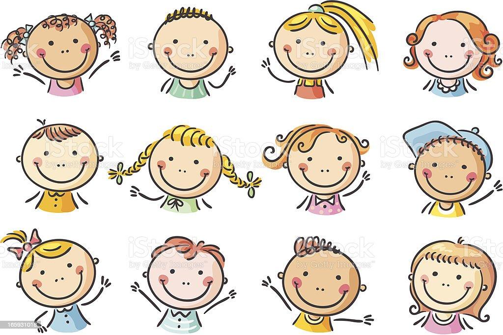 Set Of Cartoon Childrens Faces Stock Vector Art More: Kids Faces Stock Vector Art & More Images Of Boys