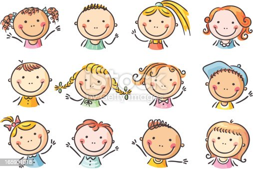Kids Faces Stock Vector Art & More Images of Boys ...