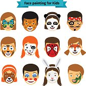 Kids faces with painting