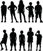 A collection of kid silhouettes facing forward.
