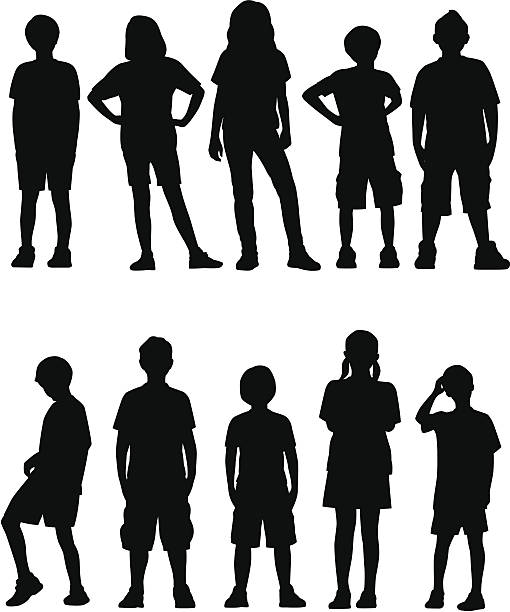 Niños frente a frente - ilustración de arte vectorial