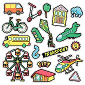 Kids Fashion Badges, Patches, Stickers with Transport