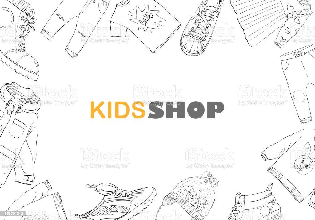 Kinder Mode Shop Hintergründe Hand Gezeichnet Design Skizze Vorlage ...
