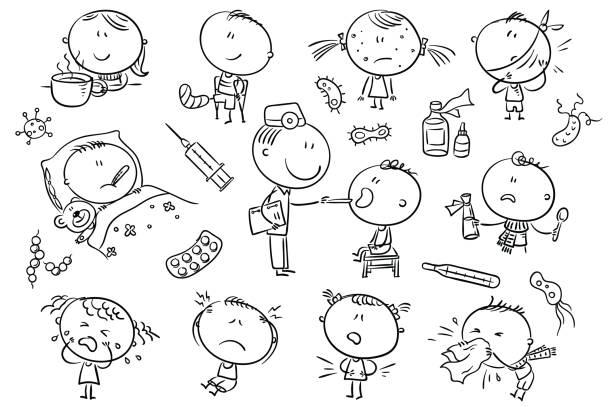 Kids Feeling Unwell, black and white outline vector art illustration