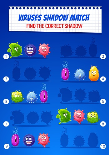 Kids find correct shadow puzzle game with viruses