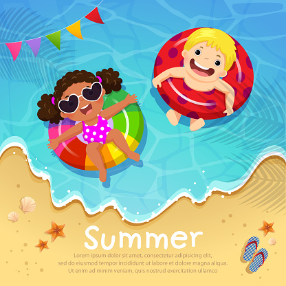 Kids floating on inflatable at the beach in summer time. Template for advertising brochure clipart