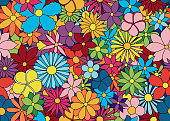 Colorful flowers seamless pattern.