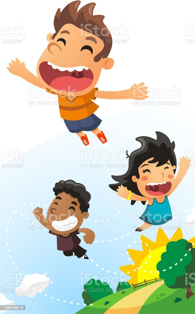 Kids Flying Happy Running in a Shinny Day vector art illustration