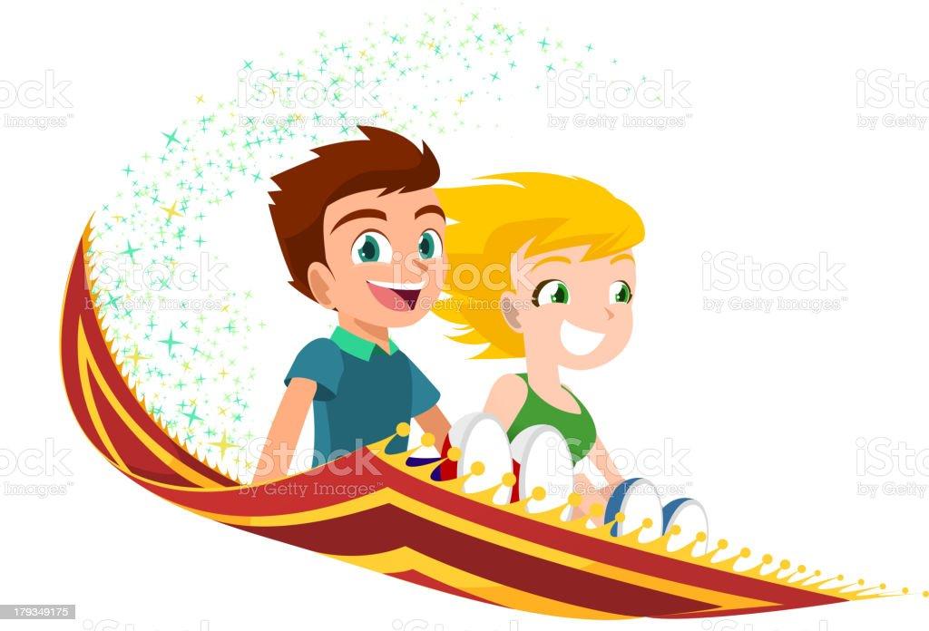 kids flying on a Magic Carpet vector art illustration