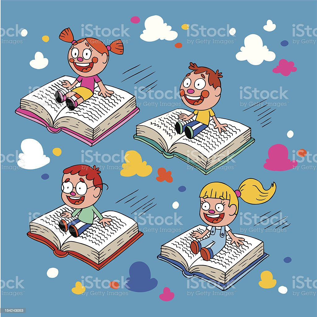 kids flying on books royalty-free stock vector art