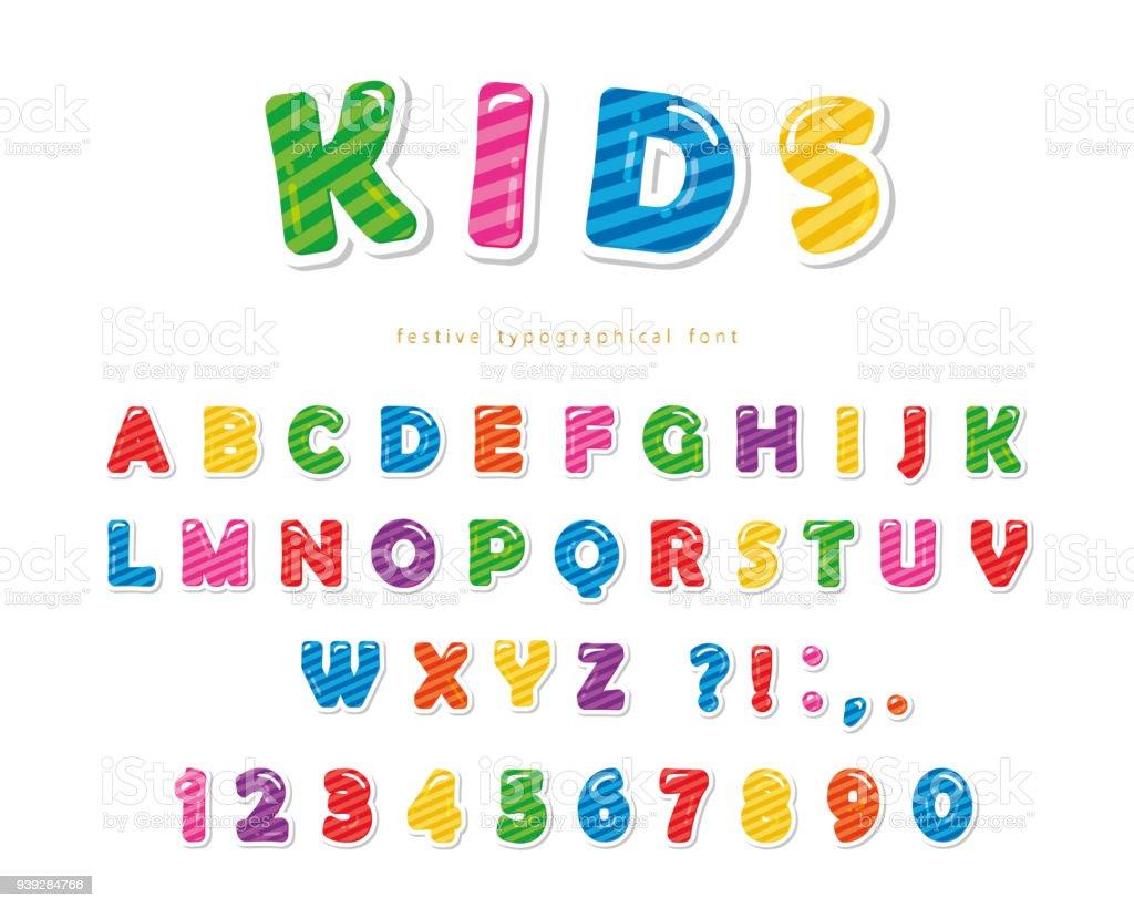 Polices d'enfants. Dessin animé brillant coloré lettres et chiffres. - Illustration vectorielle